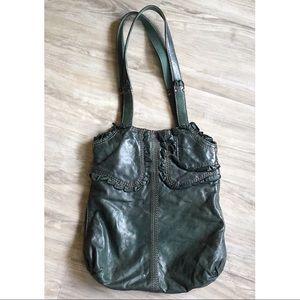 Lucky Brand Italian Lamb Leather Ruffle Hobo Bag